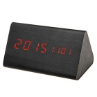 Red Light Triangle Dual-Screen Wooden LED Desk Clock w/ Alarm Clock / Temperature - Black