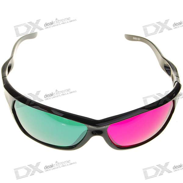 Re-useable Plastic Frame Resin Lens Anaglyphic Green + Magenta 3D Glasses