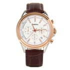 Bestdon Men's Leather Strap 3 Sub-dials Waterproof Luminous Dial Quartz Watch - White + Brown