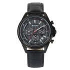 Bestdon BD9979G Men's Leather Strap 3 Sub-dials Waterproof Luminous Dial Quartz Watch - Black