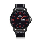 SKONE Men's Casual PU Band Quartz Watch w/ Chinese / English Calendar, Big Digital Dial - Red