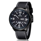 SKONE Men's Leather Band Double Calendar Display Unique Designed Dial Quartz Watch - Black