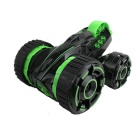 6-Channel Five Tires Remote Control 360° Rotation Stunt Car Toy - Black + Green