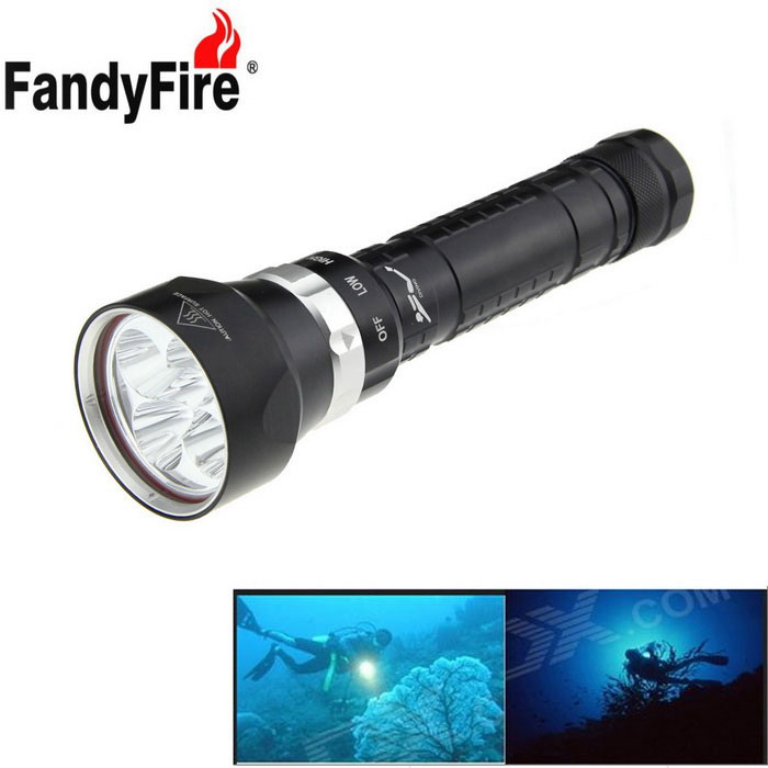 FandyFire XM-L2 U2 Cold White 5-LED 3-Mode Diving Flashlight - BlackDiving Flashlights<br>Form  ColorBlackQuantity1 DX.PCM.Model.AttributeModel.UnitMaterialAluminum alloyEmitter BrandOthers,N/ALED TypeXM-L2Emitter BINU2Color BINCold WhiteNumber of Emitters5Theoretical Lumens4800 DX.PCM.Model.AttributeModel.UnitActual Lumens4800 DX.PCM.Model.AttributeModel.UnitPower Supply2 x 26650 / 2 x 18650 (included)Working Voltage   7.2~8.4 DX.PCM.Model.AttributeModel.UnitCurrent3000 DX.PCM.Model.AttributeModel.UnitRuntime3~5 DX.PCM.Model.AttributeModel.UnitNumber of Modes3Mode ArrangementHi,Low,Slow StrobeMode MemoryNoSwitch TypeTwistySwitch LocationSide,Others,Rotational switchLens MaterialGlassReflectorAluminum SmoothWorking Depth Underwater180 DX.PCM.Model.AttributeModel.UnitStrap/ClipStrap includedPacking List1 x Flashlight (with 2 18650 battery sleeve tubes)2 x 18650 batteries (2200mAh actual capacity)1 x 18650 charger1 x Strap (about 52cm)2 x Waterproof rubber rings1 x 18650 battery case<br>