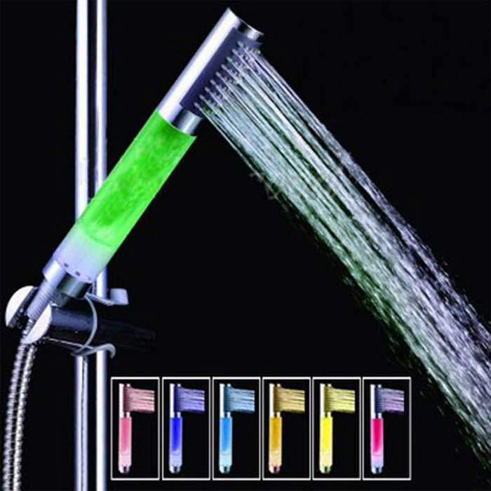 3-Color Changing LED Hand Shower Faucet - Silver + Translucent White