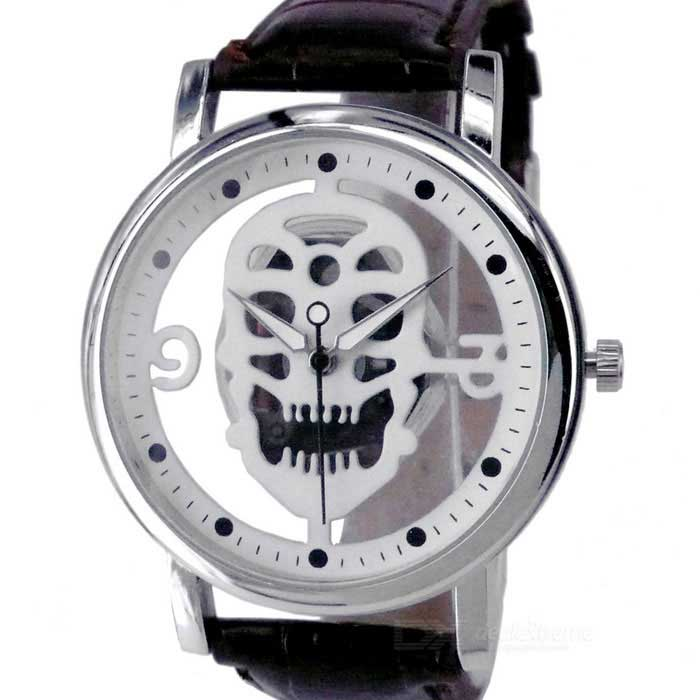 Skull Dial Belt Quartz Watch for Man - Silver (1 x 377)