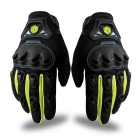 Scoyco Sporty Full-Finger Anti-Slip Motorcycle Gloves - Neon Green (Pair / M Size)