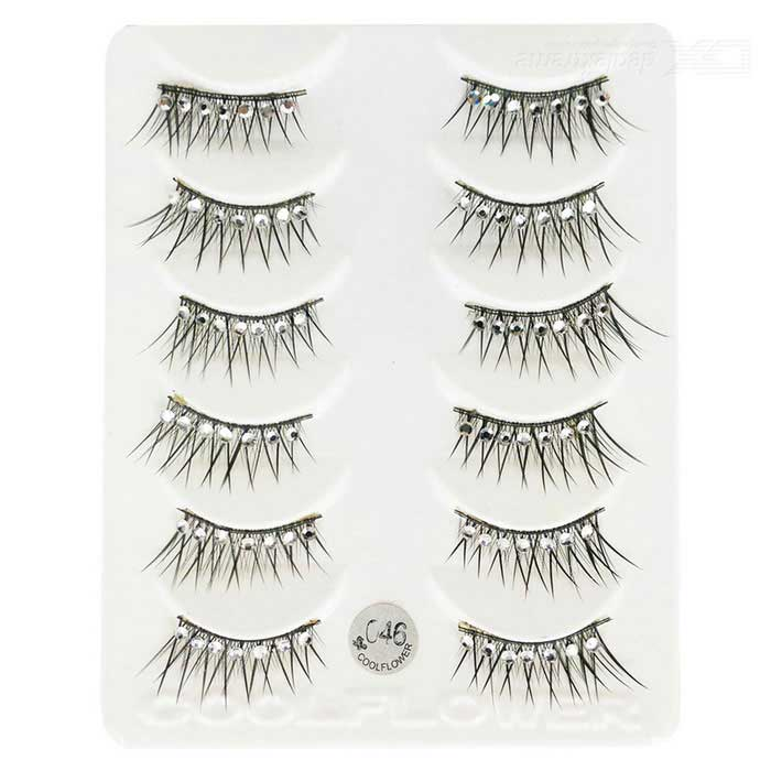 COOL FLOWER Black Cross Section False Eyelashes w/ Rhinestone (6 Pair)