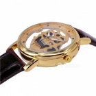 Skull Dial Artificial Leather Band Analog Quartz Watch - Golden