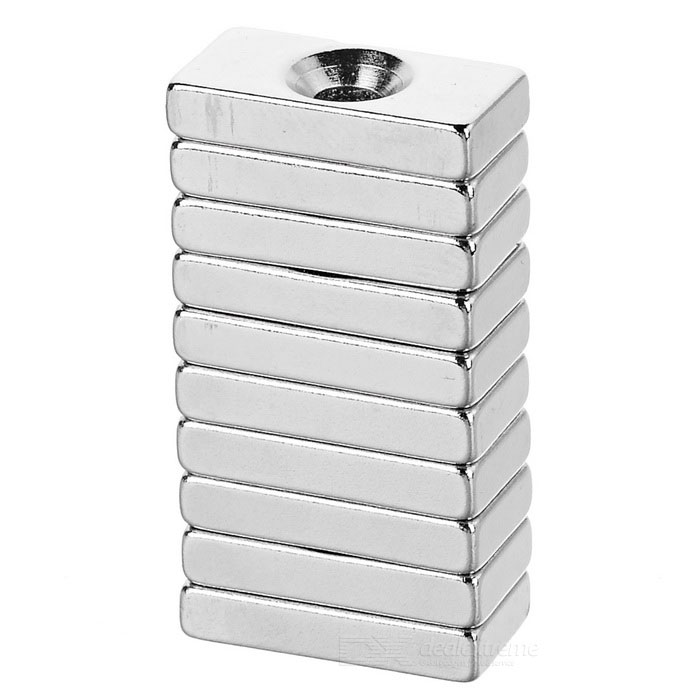 F20*10*5mm Rectangular NdFeB Magnet w/ Hole - Silver (10PCS)