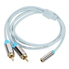 VENTION 3.5mm Female to 2 RCA Male AUX Audio Cable - Blue + Grey (1m)