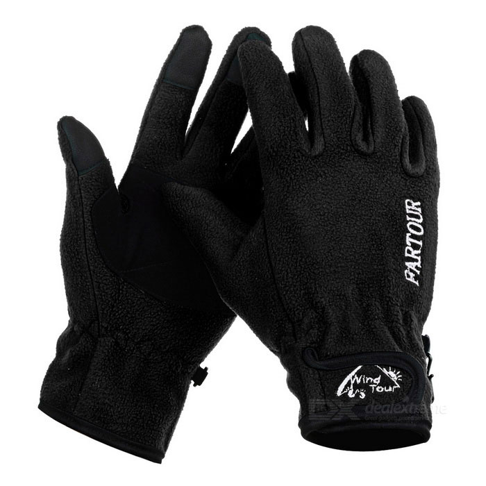 Wind Tour Anti-Slip Warm Touch Screen Full Finger Gloves - Black (XL)