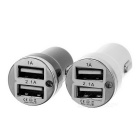 1A / 2.1A2-USB Car Charger for Phone / Tablets - White + Black (2PCS)