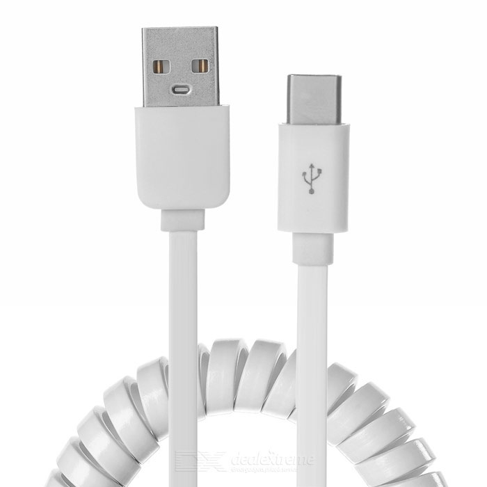 Flat USB 3.1 Type-C Charging Data Spring Cable - White (280cm / 2PCS)