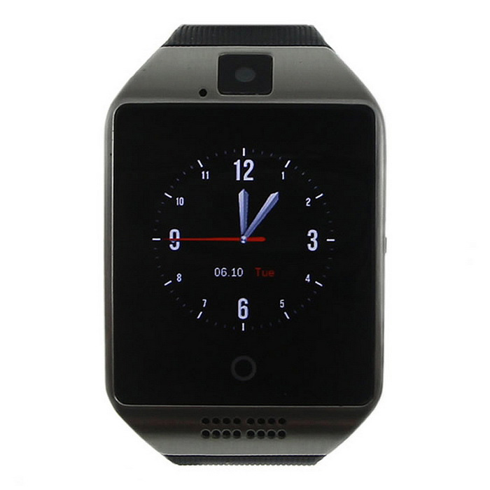 Q18 1.54 LCD BT Smart Watch w/ SIM for IOS / Android - Black + SilverSmart Watches<br>Form ColorBlack + SilverModelQ18Quantity1 DX.PCM.Model.AttributeModel.UnitMaterialPlastic + metalShade Of ColorBlackCPU ProcessorMTK6260A; 360MHzBluetooth VersionBluetooth V3.0Touch Screen TypeCapacitive ScreenOperating System-Compatible OSAndroid, IOSWater-proofOthers,Life WaterproofBattery Capacity500 DX.PCM.Model.AttributeModel.UnitBattery TypeLi-polymer batteryStandby Time120 DX.PCM.Model.AttributeModel.UnitCertificationCE, FCC, RoHSPacking List1 x Smart watch1 x USB Charging Cable (60cm)1 x English user manual<br>