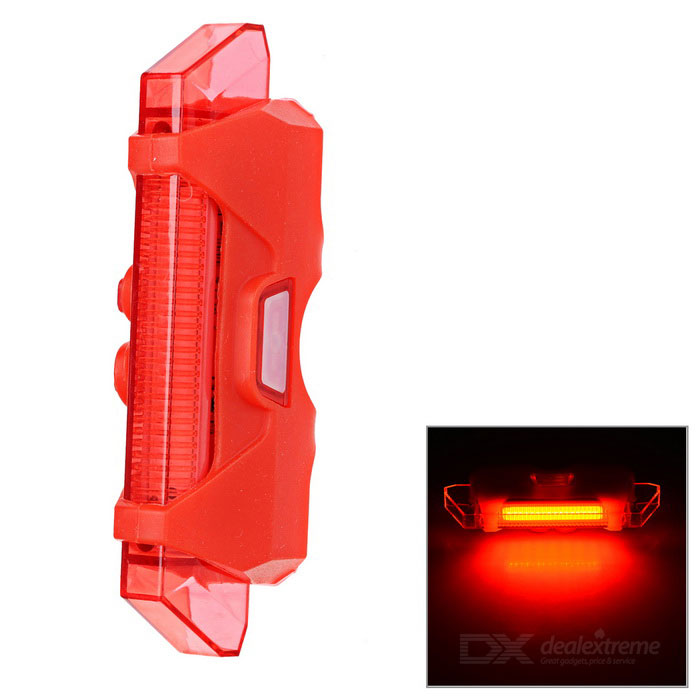 Waterproof Highlight 6-Mode Red Light LED USB Bike Headlamp - Red