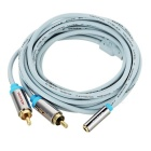 VENTION 3.5mm Female to 2 RCA Male AUX Audio Cable - Blue + Silver + Grey (3m)