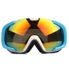 Fashionable TPU Frame PC Lens UV400 Protection Sport Skiing Goggles - Blue + Red