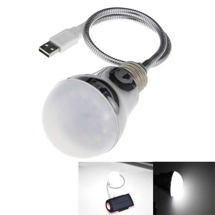 0.6W 45lm 10-LED Flexible Neck USB Small Table Lamp - White Silver