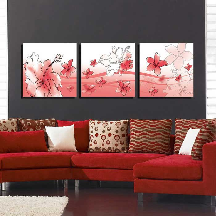 High Quality Bizhen Flowers Painting Canvas Wall Art Picture   Red (3PCS)