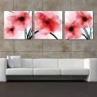 Bizhen Frame-free Red Flowers Painting Canvas Wall Art Picture Home Living Room Decoration 3 Panels