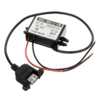 15W DC 12/24/36/48V to DC 5V 3A Voltage Step Down Power Converter w/ USB Female Output - Black