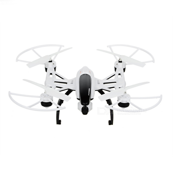 JIN XING DA;JD 6-Axis Gyro Mini R/C Quadcopter Aircraft Toy - WhiteR/C Airplanes&amp;Quadcopters<br>Form  ColorWhite + Black + Multi-ColoredMaterialABSQuantity1 DX.PCM.Model.AttributeModel.UnitShade Of ColorWhiteGyroscopeYesChannels Quanlity4 DX.PCM.Model.AttributeModel.UnitFunctionUp,Down,Left,Right,Forward,Backward,Stop,Hovering,Sideward flightRemote TypeRadio ControlRemote control frequency2.4GHzRemote Control Range80 DX.PCM.Model.AttributeModel.UnitSuitable Age 12-15 years,Grown upsCameraYesCamera Pixel0.3MPLamp YesBattery TypeLi-polymer batteryBattery Capacity600 DX.PCM.Model.AttributeModel.UnitCharging Time70 DX.PCM.Model.AttributeModel.UnitWorking Time6 DX.PCM.Model.AttributeModel.UnitRemote Controller Battery TypeAARemote Controller Battery Number4 (not included)Remote Control TypeWirelessModelMode 2 (Left Throttle Hand)CertificationCEOther FeaturesWith light, headless mode, press one button to return, Fixed high mode, 0.3MP camera.Packing List1 x Quadcopter1 x Remote controller4 x Covers1 x USB charging cable (78cm)1 x Screwdriver1 x Card reader1 x 4GB memory card1 x Lithium battery (Built-in)4 x Blades1 x Chinese / English user manual<br>