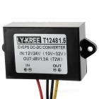 72W DC 12/24V to DC 48V 1.5A Power Converter for Car GPS, More - Black