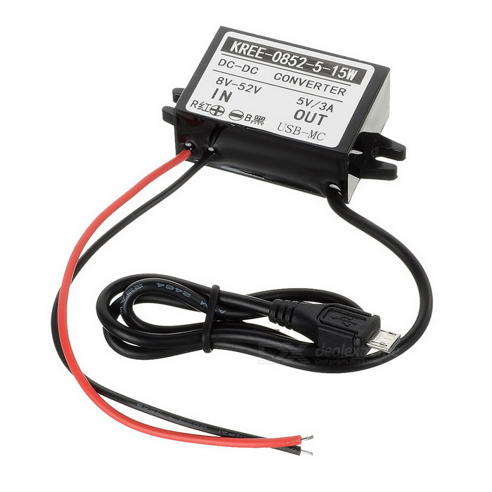 15W DC 12/24/36/48V to DC 5V Power Converter w/ Micro USB - BlackCar Power Inverters<br>Form  ColorBlackModelN/AQuantity1 DX.PCM.Model.AttributeModel.UnitMaterialPlasticInput VoltageOthers,(Wide voltage range: 8~52V) 12/24/36/48 DX.PCM.Model.AttributeModel.UnitSocket Output VoltageOthers,NoSocket Output CurrentNo DX.PCM.Model.AttributeModel.UnitUSB Output Voltage5 DX.PCM.Model.AttributeModel.UnitOutput Current3 DX.PCM.Model.AttributeModel.UnitContinuous Output Power15 DX.PCM.Model.AttributeModel.UnitPeak Output PowerNo DX.PCM.Model.AttributeModel.UnitWaveform TypeOthers,NoUSBMicro USBOutput SocketNoConversion Efficiency95%Output FrequencyNoOver Voltage ProtectionYesLow-voltage ProtectionYesOvertemperature ProtectionYesIndicator LightNoPower CableOutput wire: 45cm; Input wire: 13cmApplicationOthers,GPS, car DVR, cellphones, car DVD, car LED light, MP3, MP4, HDD player, speaker, etcOperating Temperature-40~+85 DX.PCM.Model.AttributeModel.UnitPacking List1 x Power converter<br>
