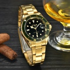 MCE Alloy Band Analog Self-Winding Mechanical Watch - Golden + Green