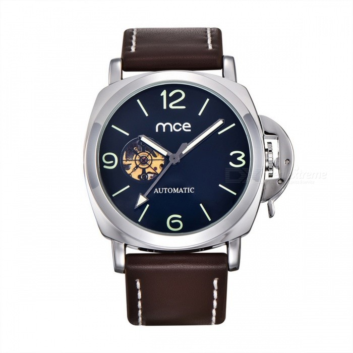 MCE Fashionable PU Band Analog Mechanical Wrist Watch - Silver + Brown