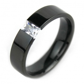 Unisex Crystal + Steel Finger Ring - Black (US 10)