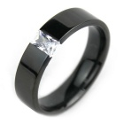 Unisex Crystal + Steel Finger Ring - Black (US Size 10)