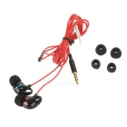 SENICC MX123 3.5mm In-Ear Earphone w/ Mic, Wire Control - Black + Red