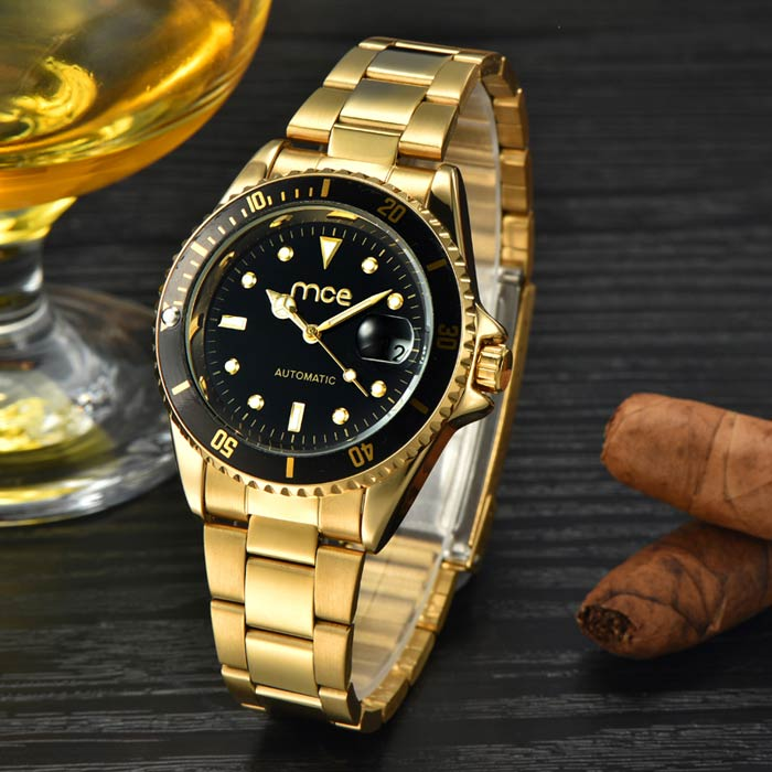 MCE Fashionable Analog Self-Winding Mechanical Watch - Golden + Black