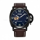 MCE Unisex Fashionable PU Band Analog Self-Winding Mechanical Wrist Watch - Brown + Black