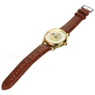 MCE Unisex Hollow PU Band Mechanical Wrist Watch - Brown + Silver