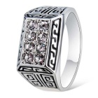 Xinguang Men's Sparkling Crystal Ring - Silver (US Size 11)