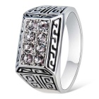 Xinguang Men's Sparkling Crystal Ring - Silver (US Size 10)
