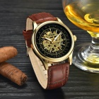 MCE Unisex Hollow PU Band Analog Self-Winding Watch - Brown + Black