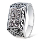 Xinguang Men's Sparkling Crystal Ring - Silver (US Size 9)