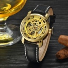 MCE Hollow PU Band Self-Winding Mechanical Watch - Golden + Black
