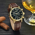 MCE Men's Casual PU Band Analog Self-Winding Mechanical Watch - Golden + Black