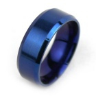 Smooth Electroplating Blue Titanium Steel Finger Ring (US Size 10)