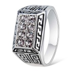 Xinguang Men's Crystal Inlaid Finger Ring - Silver (US Size 12)