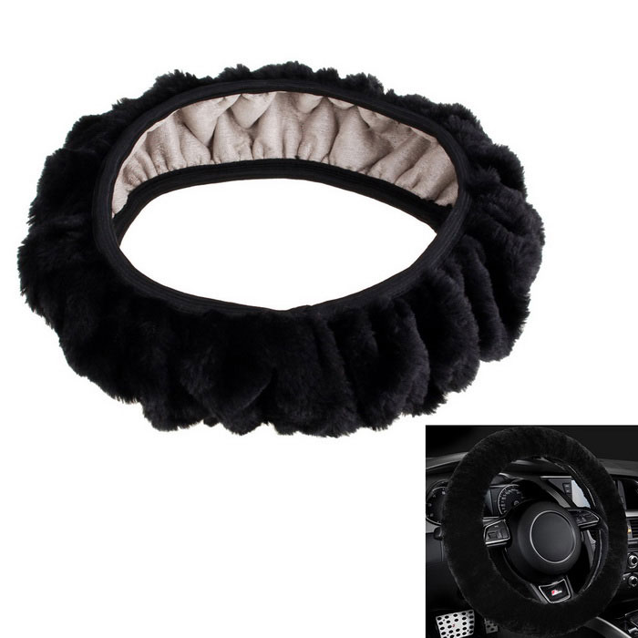 Comfortable Soft Plush Car Steering Wheel Cover - Black (M)