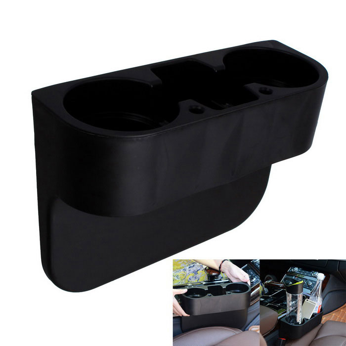 Multi-Function Car Water Cup Drink Rack Compartment Box Holder - Black