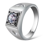 Xinguang Simple Style Crystal Finger Ring for Men - White (US 9)