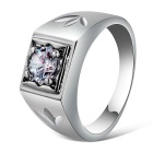Xinguang  Men's Simple Style Crystal Finger Ring - Silver (US Size 10)