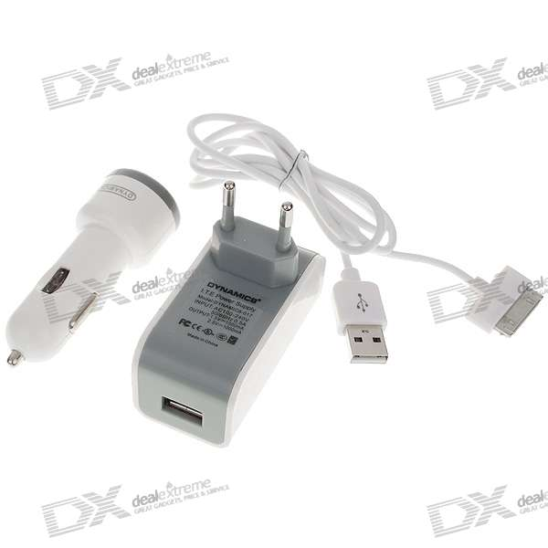 AC/Car Power Adapters + USB Data Cable Charger Set for iPod/iPhone3G/3GS/4 (100~240V/EU Plug)